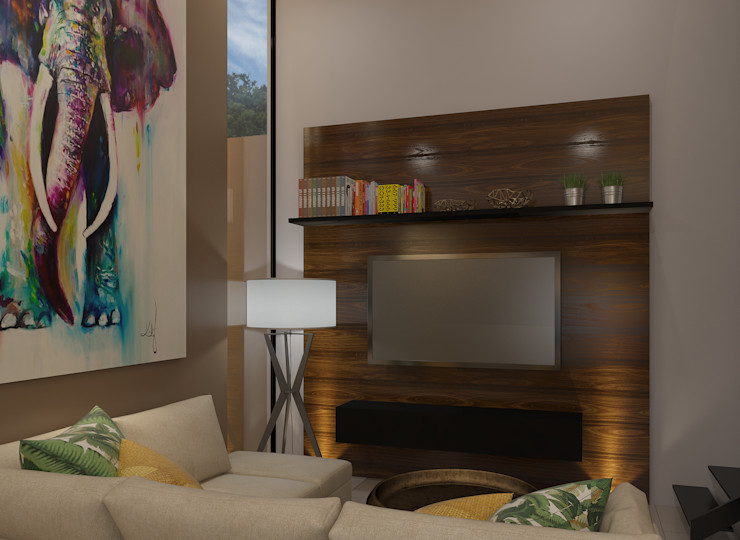 Taller Interno Tropical style media rooms