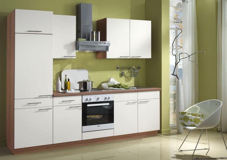 Küchengestaltung mit Griffen, Glastüren, Korpusfarbton und Arbeitsplatten-Dekor network Küchen   gute Küchen ...günstig KücheSchränke und Regale Weiß