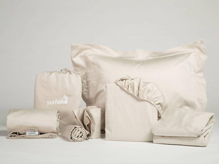 Baumwollsatin Bettwäscheset Sandy Grey Yumeko SchlafzimmerTextilien Baumwolle Beige