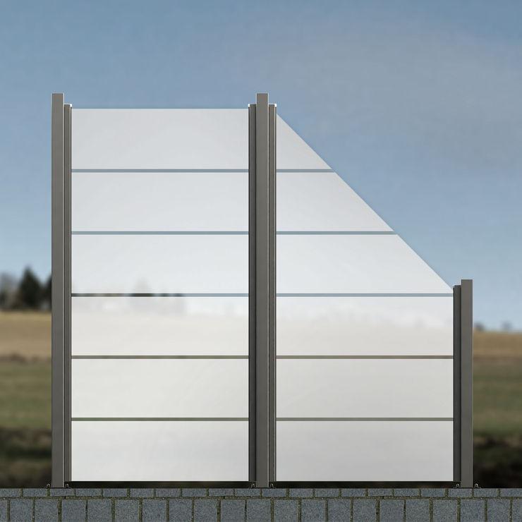 Glaszaun - Zaun aus Glas als Wind- und Sichtschutz für Garten & Terrasse LGP-1702-Z homify GartenZäune und Sichtschutzwände Glas Weiß