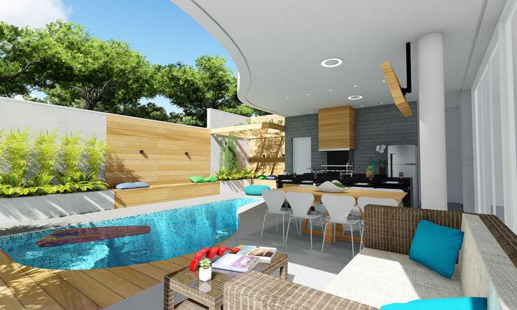 Projeto Arquitetura Residencial AR17 arquiteto bignotto Varandas, alpendres e terraços modernos