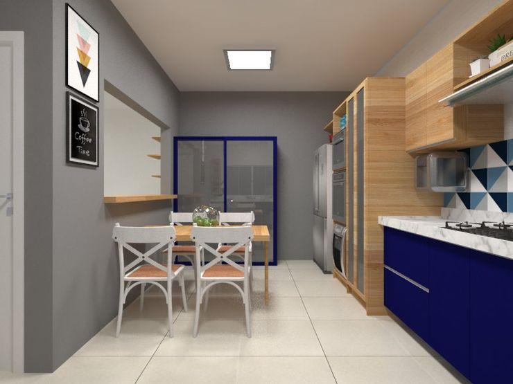 Atelie 3 Arquitetura Wiejska kuchnia Płyta MDF O efekcie drewna
