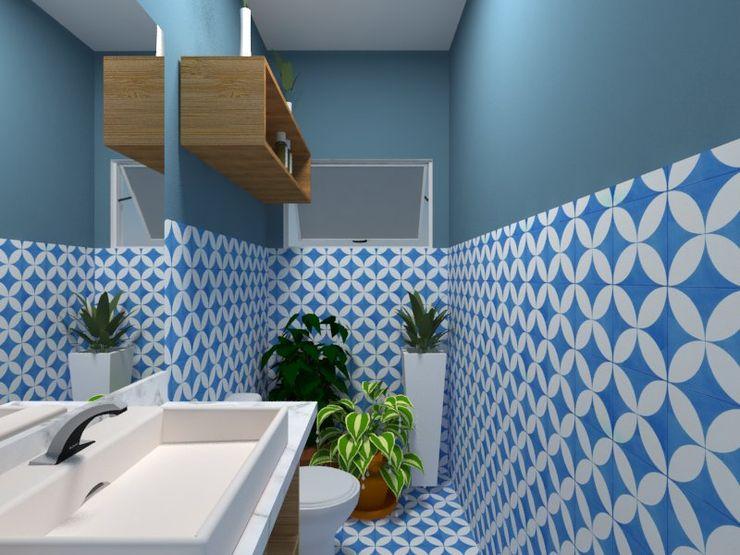 Atelie 3 Arquitetura Baños de estilo rural Azulejos Azul