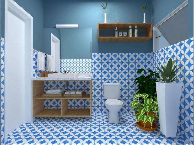 Atelie 3 Arquitetura Wiejska łazienka Płytki Niebieski