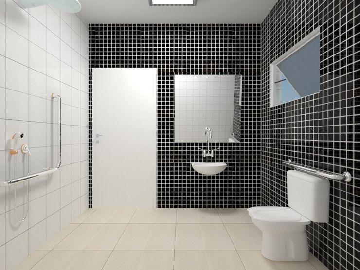 Atelie 3 Arquitetura Wiejska łazienka Ceramiczny Czarny