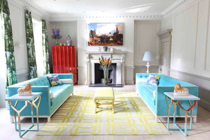Townhouse drawing room niche pr Living room Copper/Bronze/Brass Blue