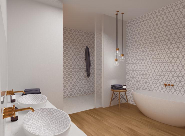 JS Bauplanung & Interior Design Modern bathroom Wood White