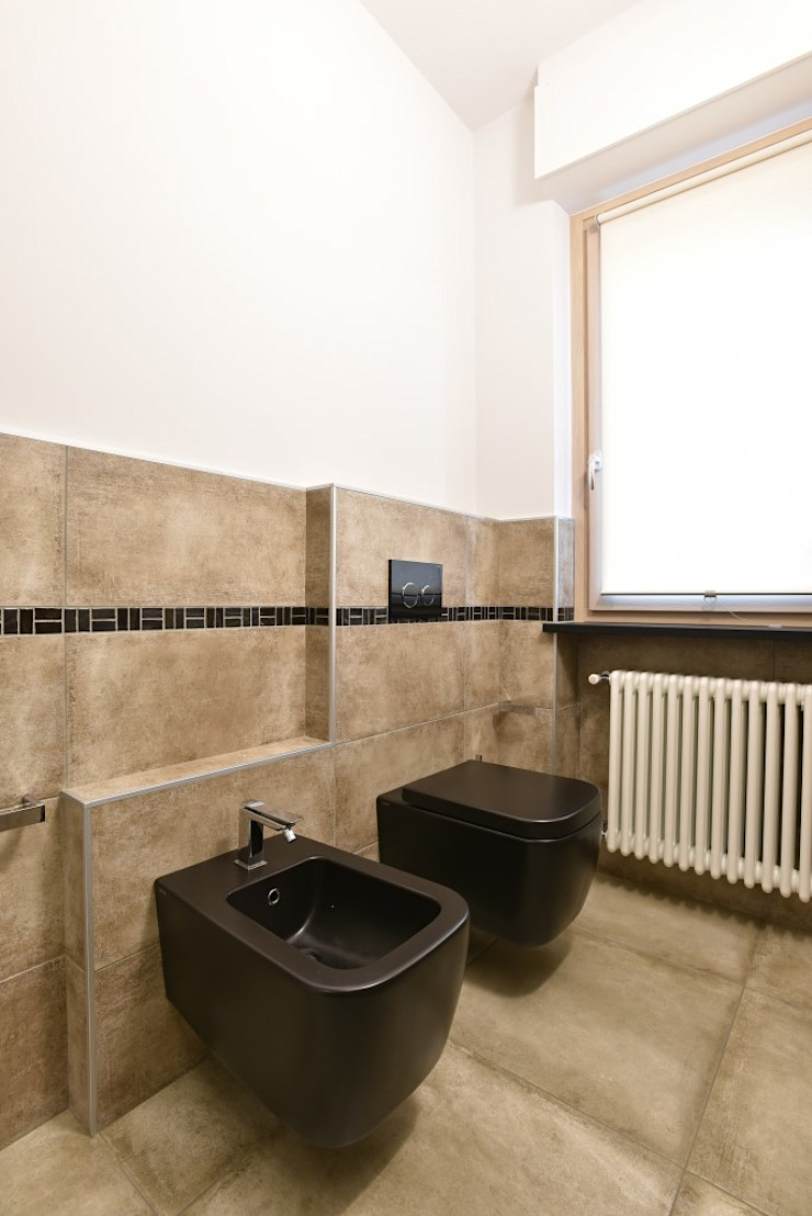 appartamento C+G – 2015 architetto Davide Fornero Bagno moderno Ceramica Nero