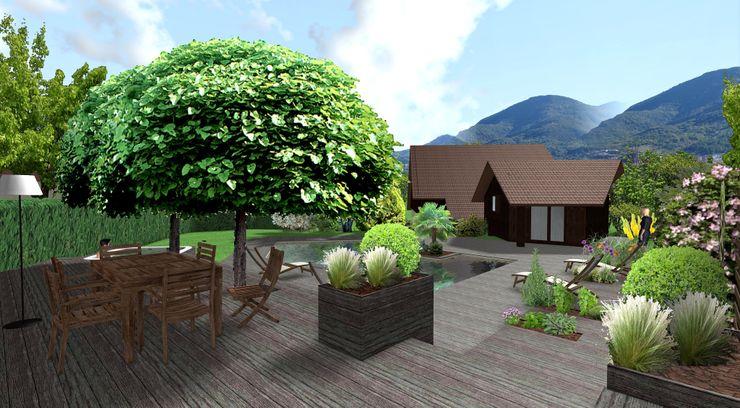 Terrasse haute Anthemis Bureau d'Etude Paysage Balcon, Veranda & Terrasse modernes