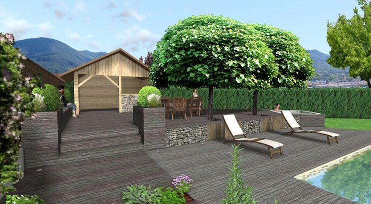Banquettes et massifs Anthemis Bureau d'Etude Paysage Balcon, Veranda & Terrasse modernes