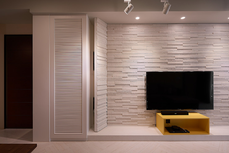 文化石電視牆設計 趙玲室內設計 Modern walls & floors