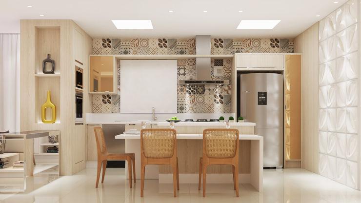 Flávia Kloss Arquitetura de Interiores Modern Kitchen MDF Beige
