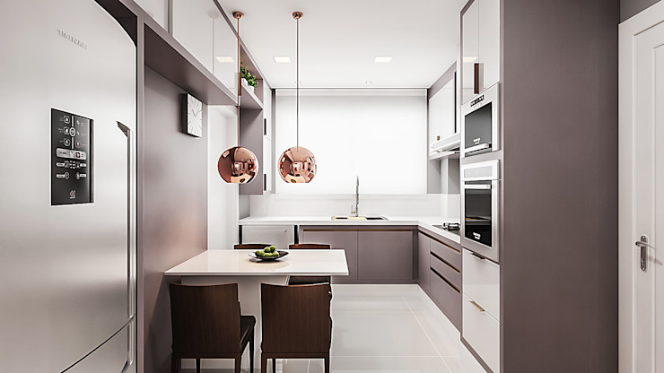 Flávia Kloss Arquitetura de Interiores Modern Kitchen MDF Grey
