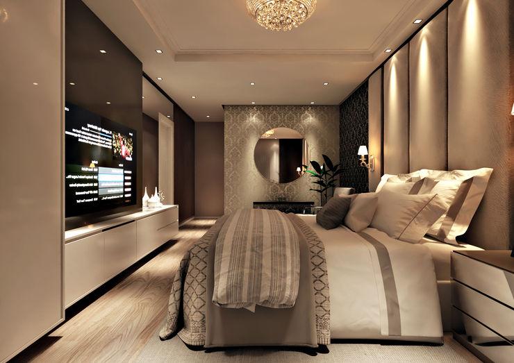Flávia Kloss Arquitetura de Interiores Modern style bedroom MDF Amber/Gold