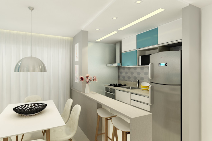 homify Modern Kitchen Turquoise