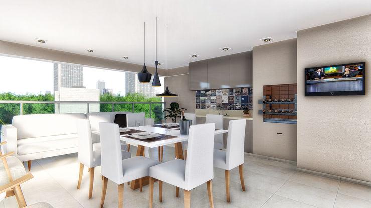 Jantar na Varanda KB Interiores Varandas, alpendres e terraços modernos de madeira e plástico Branco