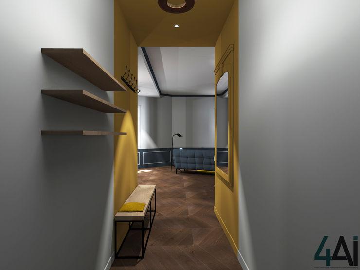 Agence 4ai Corredores, halls e escadas modernos Madeira maciça Amarelo