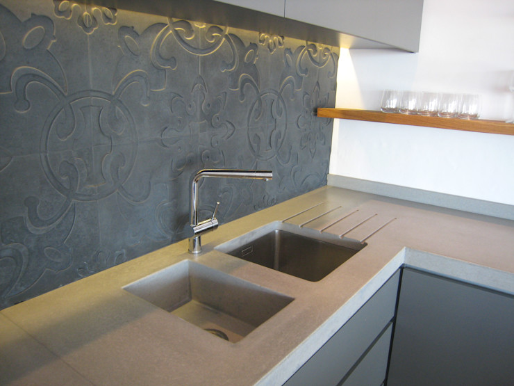 Combines stainless and integrated concrete sink Stoneform Concrete Studios Modern kitchen Concrete