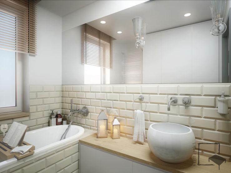 4 kąty a stół 5 Pracownia Projektowa Ewelina Białobrzewska Rustic style bathroom Tiles Beige