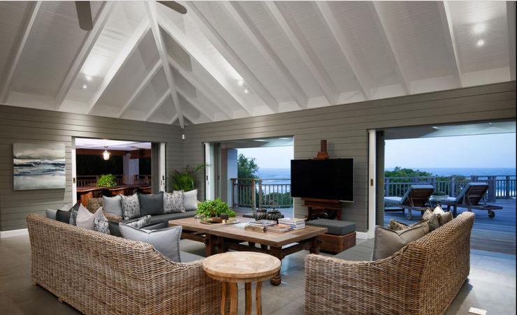 Beach Front House JSD Interiors Living room Wood Grey