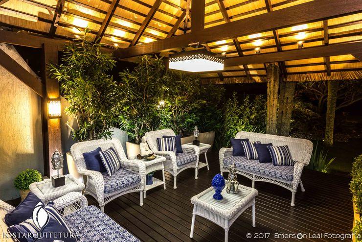 iost Arquitetura e Interiores Salon rustique Bois massif Bleu