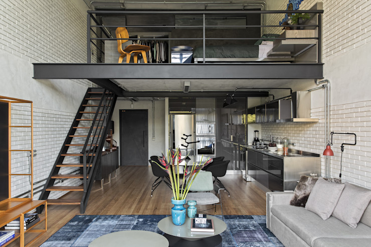 Industrial Loft II DIEGO REVOLLO ARQUITETURA S/S LTDA. Salas de estar modernas
