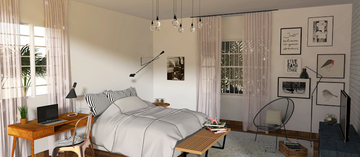 3D Quarto da Jovem - Por Patrícia Nobre Patrícia Nobre - Arquitetura de Interiores Quartos escandinavos