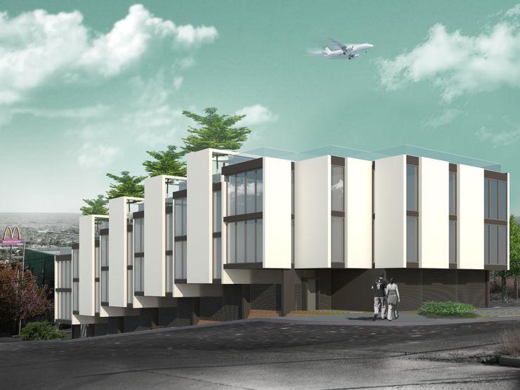 Departamentos en Barrio Gamma Proa Arquitectura Dormitorios minimalistas Ladrillos Gris