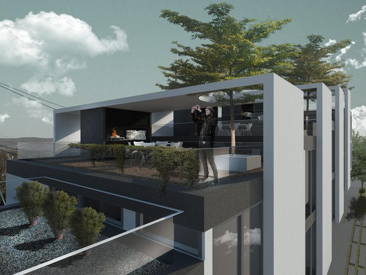 Departamentos en Barrio Gamma Proa Arquitectura Balcones y terrazas modernos: Ideas, imágenes y decoración Hormigón Blanco