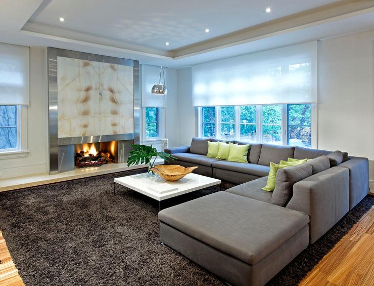 Family Room Douglas Design Studio Modern living room Grey