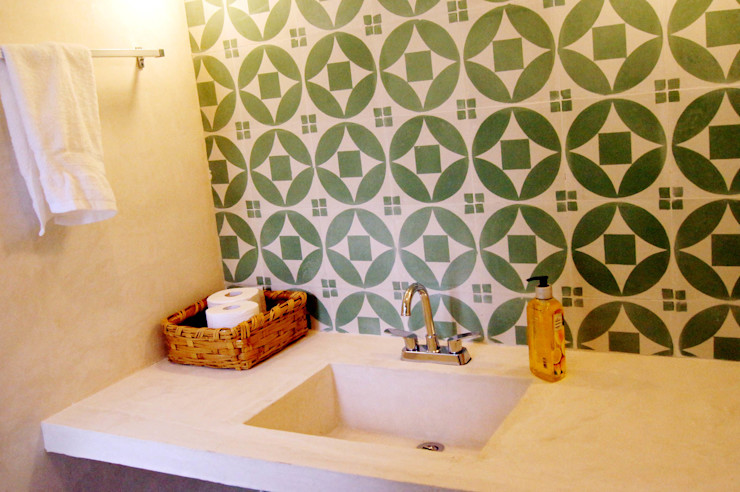 Quinto Distrito Arquitectura Eclectic style bathroom Concrete Green