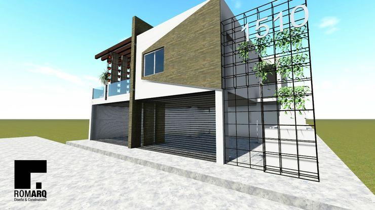 Diseño de fachada Romarq. Diseño y construcción Casas modernas: Ideas, diseños y decoración Concreto Multicolor