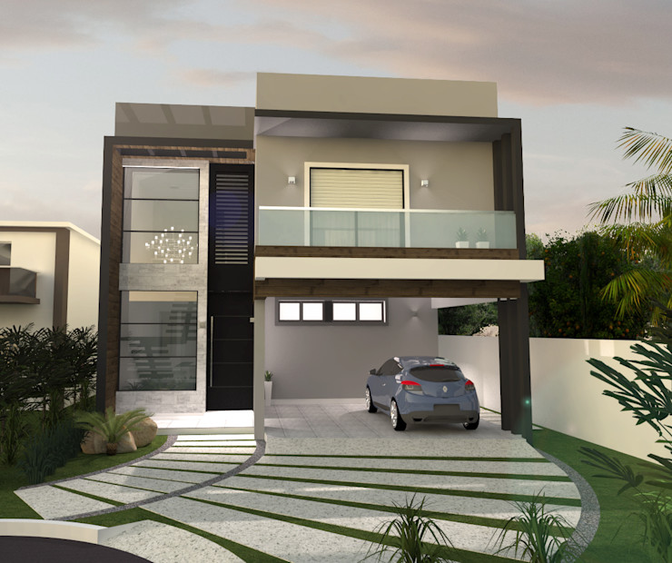 E+D Arquitetura Casas modernas: Ideas, diseños y decoración Ladrillos Acabado en madera