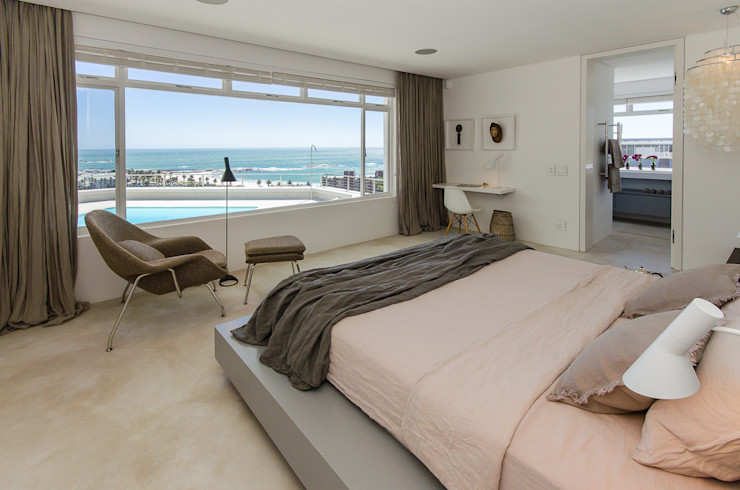 Camps Bay House 1 GSQUARED architects Minimalist bedroom Limestone White