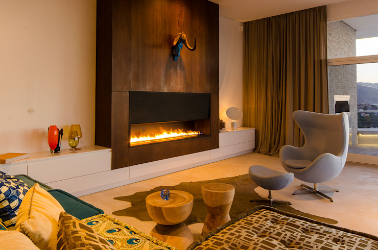 Camps Bay House 1 GSQUARED architects Living room Engineered Wood Wood effect