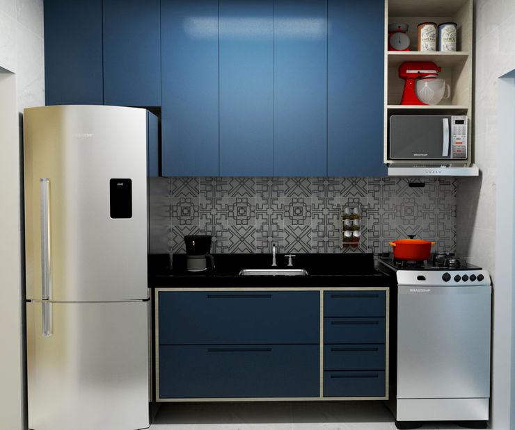 Karine Venceslau Arquitetura 現代廚房設計點子、靈感&圖片 Blue