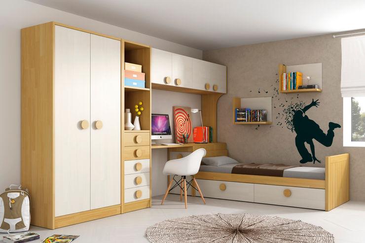 Dormitorio juvenil-infantil en madera maciza tonos natural y blanco dkp SIBONEY Habitaciones infantilesCamas y cunas Madera maciza Acabado en madera