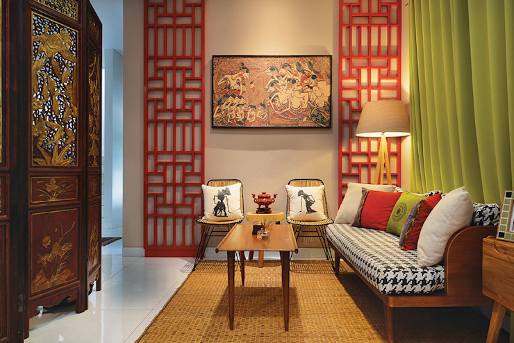 Interior Residential - Lanata 2 Residence RANAH Ruang Keluarga Gaya Eklektik Red