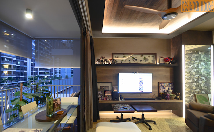 Living to Balcony Designer House Living room Plywood Brown