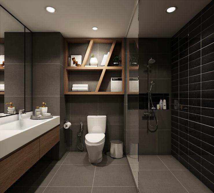 BATHROOM 22Augustudio Modern style bathrooms Ceramic Black