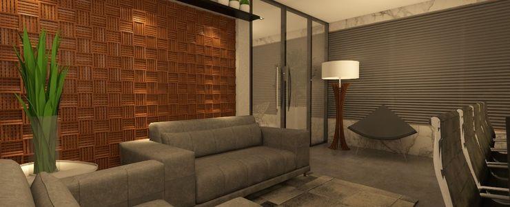 sala de reuniões CG arquitetura e interiores Espaços comerciais minimalistas Madeira maciça Cinza