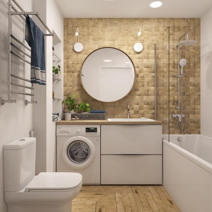 Бюджетное сканди со слипбоксом 3D GROUP Ванная комната в скандинавском стиле Белый