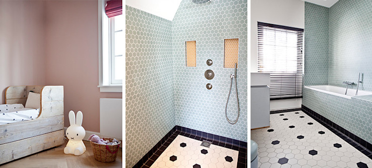 Binnenvorm Modern bathroom Tiles Green