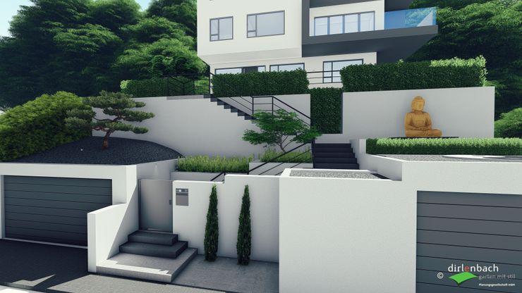 Gesamtansicht eines steilen Hauszugangs - passend zum Gebäude dirlenbach - garten mit stil