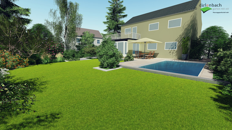 Visualisierung: Blick auf das Haus mit neuem Pool dirlenbach - garten mit stil