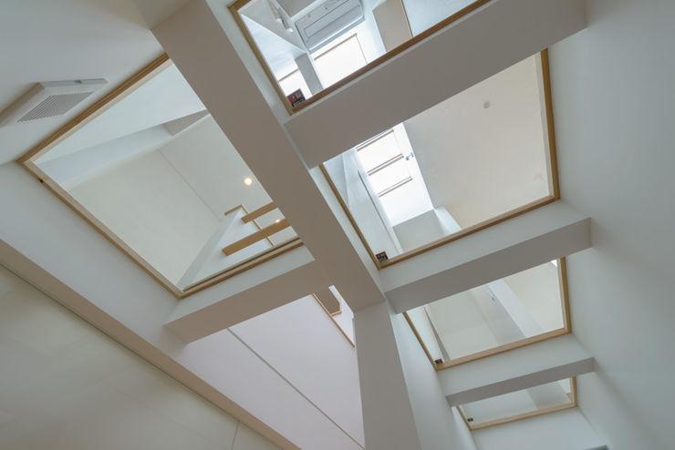 Light Well Box/光井戸の階段室 H2O設計室 ( H2O Architectural design office ) モダンスタイルの 玄関&廊下&階段 白色