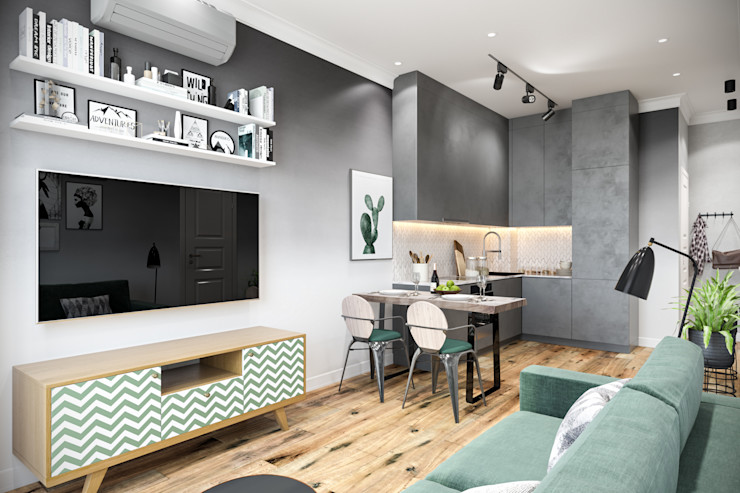 Студия архитектуры и дизайна Дарьи Ельниковой Living room Green