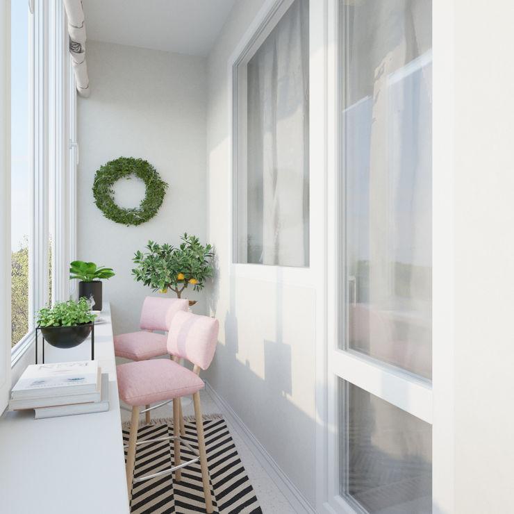ДОМ СОЛНЦА Scandinavian style corridor, hallway& stairs