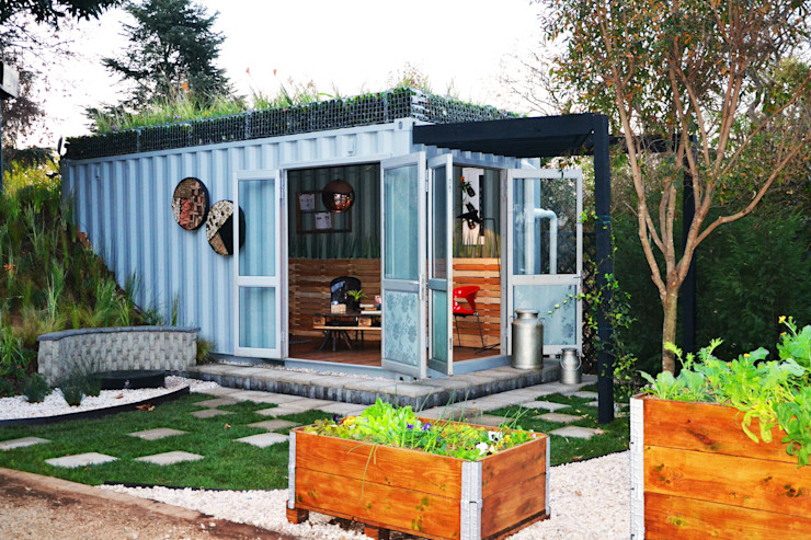 Container Garden space Acton Gardens Industrial style houses Metal Brown