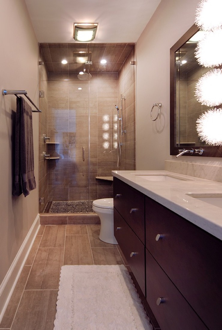 Olamar Interiors, LLC Baños de estilo moderno Azulejos Gris